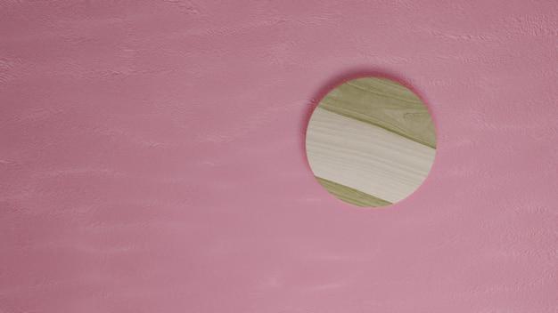 Rendering 3d legno con parete rosa, vetrina espositiva.