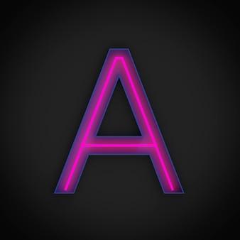 Rendering 3d, lettera maiuscola rossa al neon a accesa, all'interno della lettera blu.