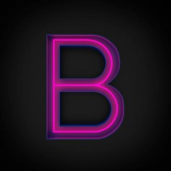 Rendering 3d, lettera maiuscola rossa al neon b accesa, all'interno della lettera blu.