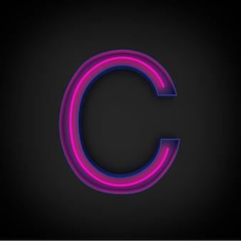 Rendering 3d, lettera maiuscola rossa al neon c accesa, all'interno della lettera blu.