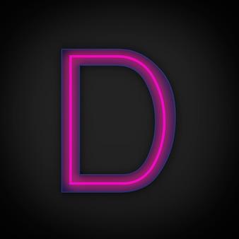 Rendering 3d, lettera maiuscola rossa al neon d accesa, all'interno della lettera blu.