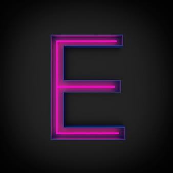Rendering 3d, lettera maiuscola rossa al neon e accesa, all'interno della lettera blu.