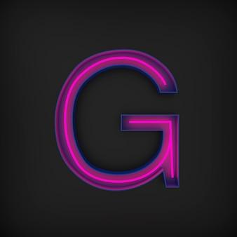 Rendering 3d, lettera maiuscola rossa al neon g accesa, all'interno della lettera blu.