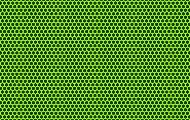 Rendering 3d. maglia di metallo verde esagonale forma linea modello sulla parete nera.