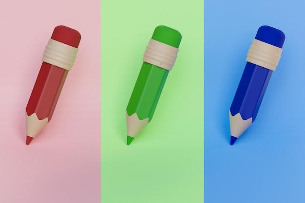 Rendering 3d, matita colorata in legno