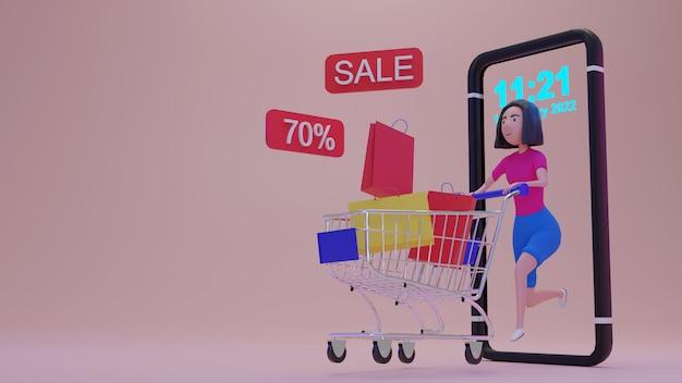 Rendering 3d mobile application., shopping concetto di tutti i tempi.