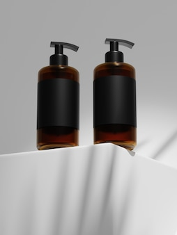 Rendering 3d mock up of duo bottiglia di shampoo in plastica sotto il sole.