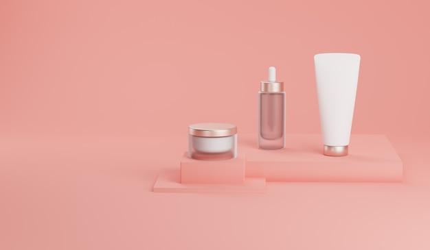 Rendering 3d mock up pacchetto cosmetico per la cura della pelle.