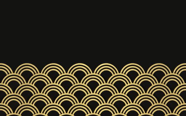 Rendering 3d. modello di onda moderno lussuoso cerchio dorato anello su sfondo nero design a parete.