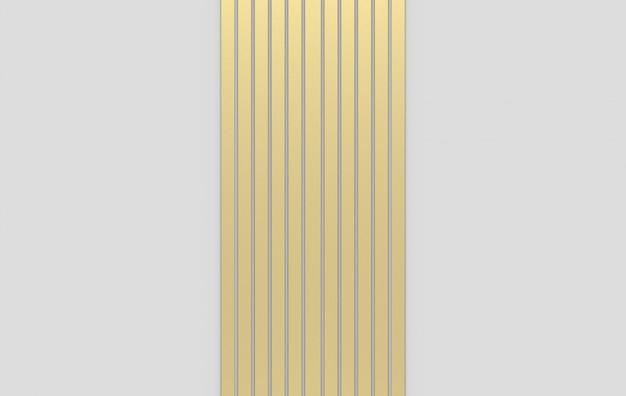 Rendering 3d. modello moderno della barra verticale dell'oro di lusso su fondo grigio.