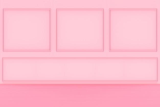 Rendering 3d. moderna parete quadrata rosa dolce classica e pavimento in legno design sfondo.