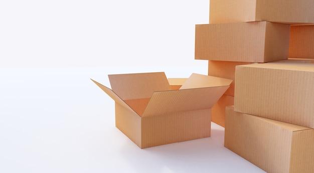 Rendering 3d. mucchio di scatole di cartone isolato su bianco.