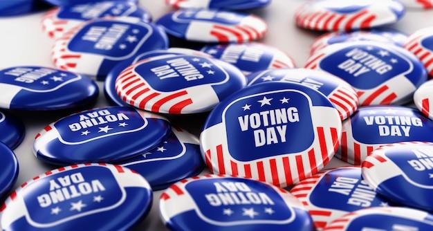 Rendering 3d pila di badge pulsante di voto.