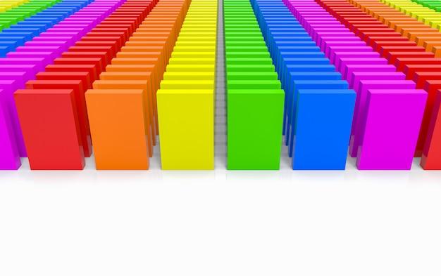 Rendering 3d. pila moderna del piatto dell'arcobaleno di lgbt su fondo bianco.