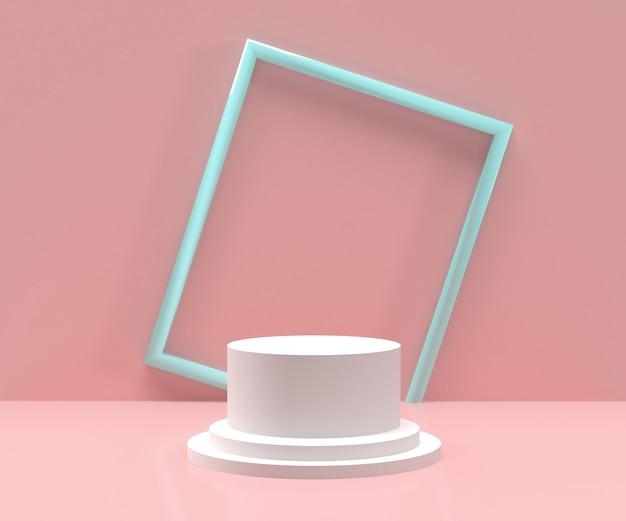Rendering 3d - podio bianco con cornice blu e sfondo rosa per esposizione prodotti