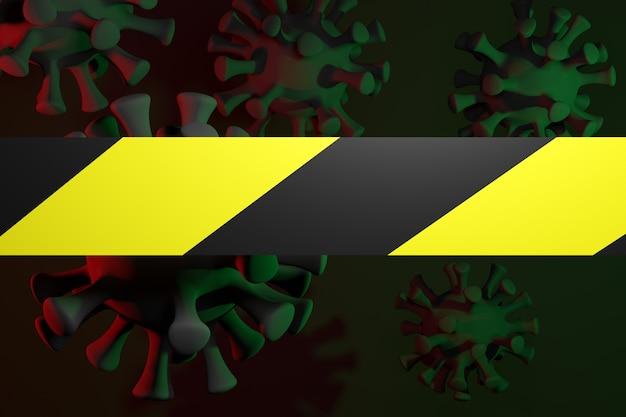Rendering 3d. primo piano del virus covid-2019