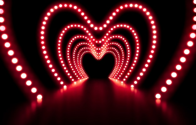Rendering 3d priorità bassa astratta di modo con le luci al neon rosse