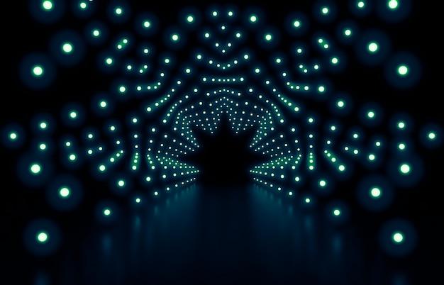 Rendering 3d priorità bassa astratta di modo con le luci al neon verdi