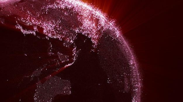 Rendering 3d, rotazione globale rossa del mondo aparticle in sfondo scuro.