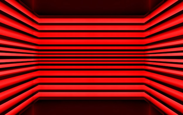Rendering 3d, sfondo della parete del modello del pannello di tono rosso scuro,
