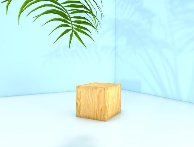 Rendering 3d. sfondo di bellezza naturale per la visualizzazione di prodotti cosmetici. sfondo di bellezza moda. espositore per scatola in legno cubo.