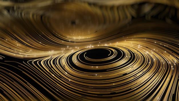 Rendering 3d sfondo di rete rotonda oro astratto