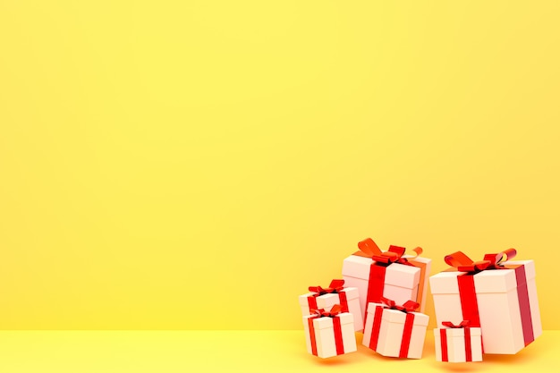 Rendering 3d, sfondo giallo confezione regalo realistico colorato con fiocco colorato su spazio vuoto per la festa
