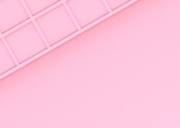 Rendering 3d. sfondo muro dolce design quadrato rosa morbido.