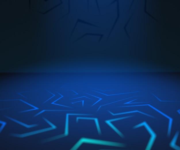 Rendering 3d sfondo per auto, vuota sala grande sala buia con luci blu