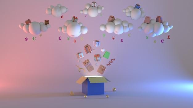 Rendering 3d shopping decorazione geometrica astratta concetto scena