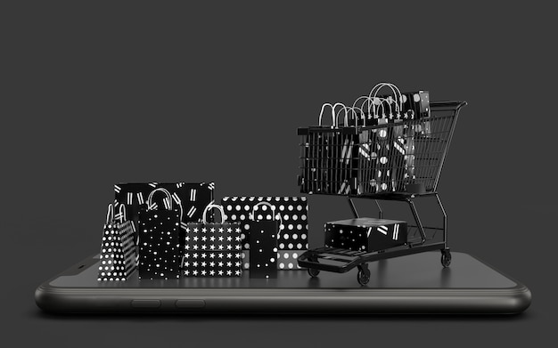 Rendering 3d shopping nero. business concept marketing e marketing online digitale
