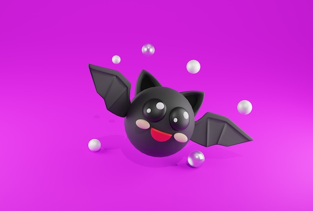 Rendering 3d simpatico pipistrello nero felice su sfondo viola