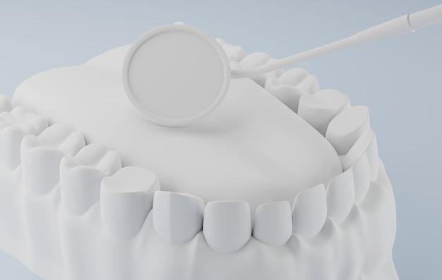 Rendering 3d specchio dentale e dentale bianco.