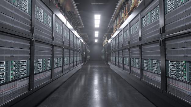 Rendering 3d stanza del grunge server digitale