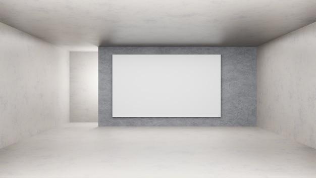 Rendering 3d. stanza vuota concreta e parete splatty.