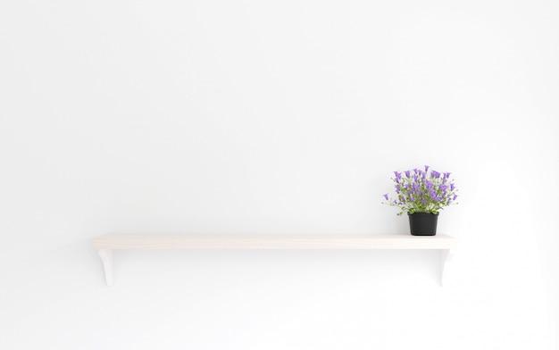 Rendering 3d stile minimal, fiore viola sullo scaffale in legno e muro bianco