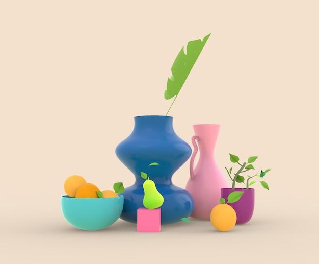 Rendering 3d still life vses con laves e frutti e piante in vaso illusration