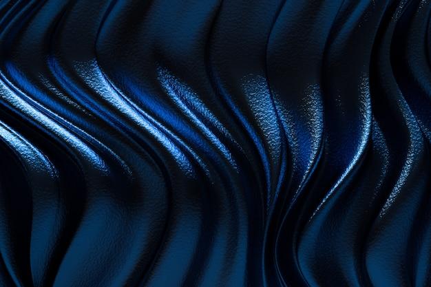 Rendering 3d, stoffa di lusso astratto blu o onda liquida o pieghe ondulate di materiale di velluto satinato texture seta grunge o sfondo di lusso o design elegante carta da parati, sfondo blu