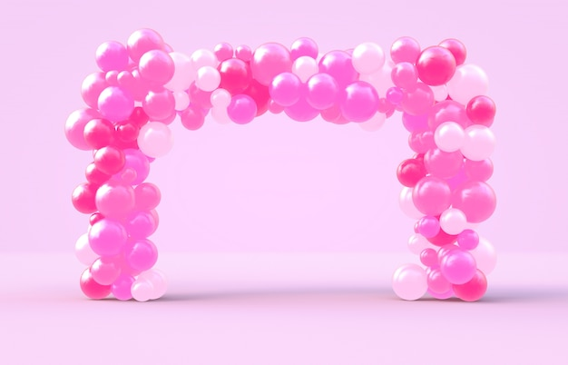 Rendering 3d. struttura quadrata del giorno del biglietto di s. valentino dolce con il contesto rosa dei balllions della caramella