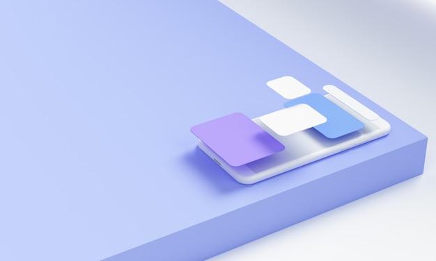 Rendering 3d sviluppo di app mobili e concetto di sviluppo software