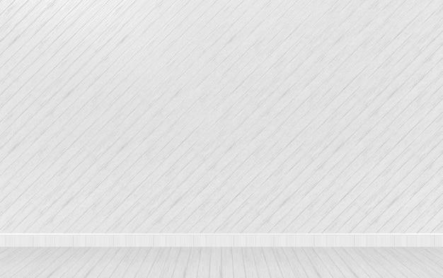Rendering 3d. svuoti il fondo grigio del pavimento della parete del pannello di legno diagonale.