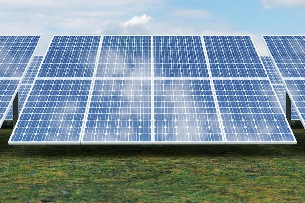 Rendering 3d tecnologia di generazione di energia solare. energia alternativa. moduli del pannello della batteria solare con cielo blu