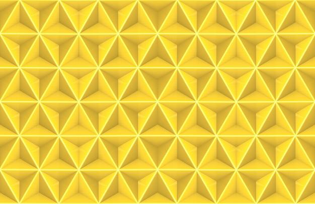 Rendering 3d. tri poligono in oro giallo senza soluzione di continuità in esagono a forma di parete arte sfondo.