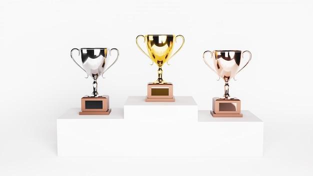 Rendering 3d. trofei d'oro, d'argento e di bronzo su podio bianco.