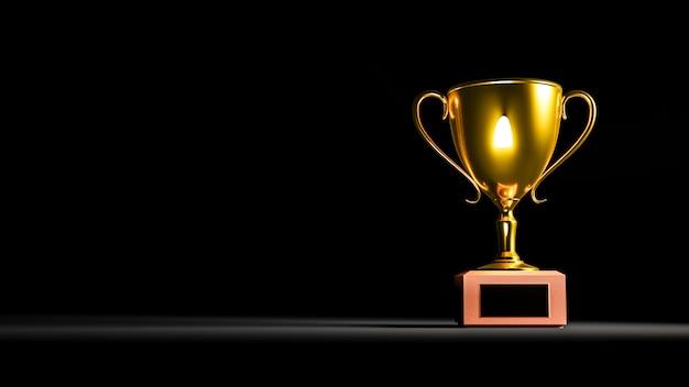 Rendering 3d. trofeo d'oro su fondo nero.