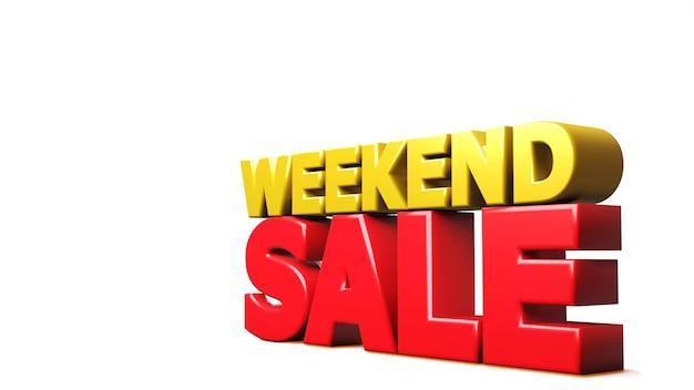 Rendering 3d vendita di fine settimana isolata su bianco. illustrazione 3d