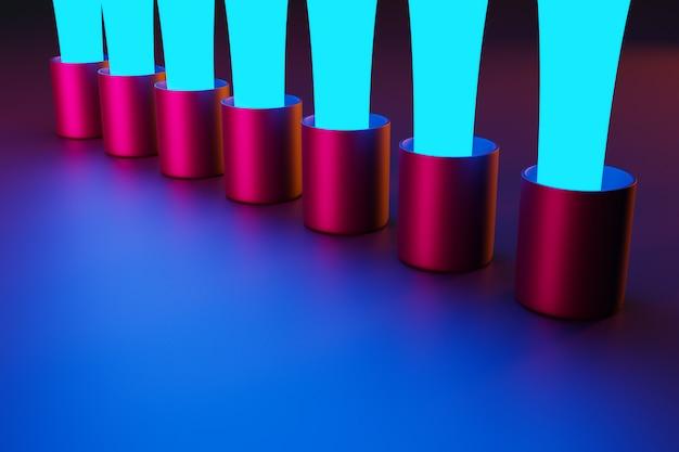 Rendering 3d vicino flusso blu di gocce d'acqua nei cerchi neri e rosa su uno sfondo rosa isolato.