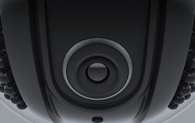 Rendering 3d. videocamera di sicurezza a sfera nera