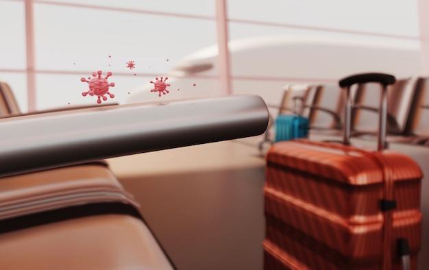 Rendering 3d virus covid-19 su valigia e volo, annullamento viaggio pandemia malattia novella, quarantena.