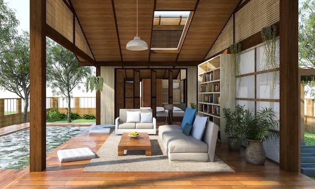 Rendering 3d zona soggiorno in legno contemporaneo con terrazza